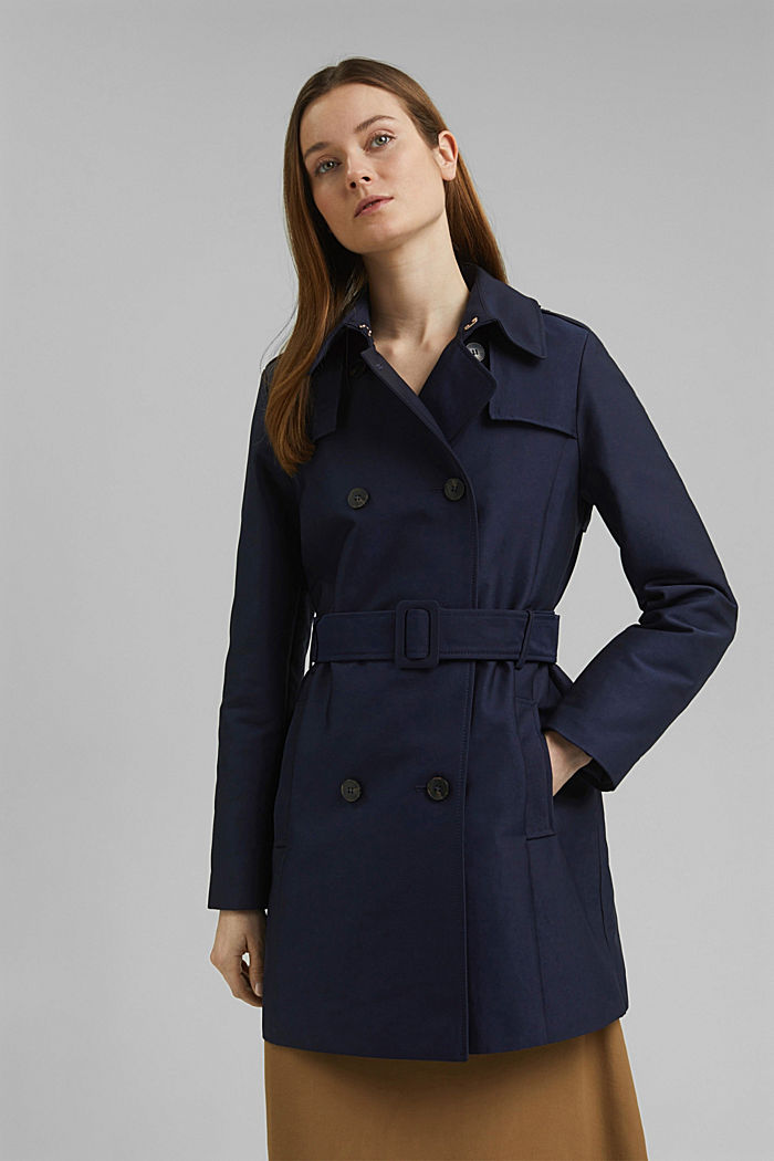 Trenchcoat aus Baumwoll-Mix, NAVY, detail image number 0