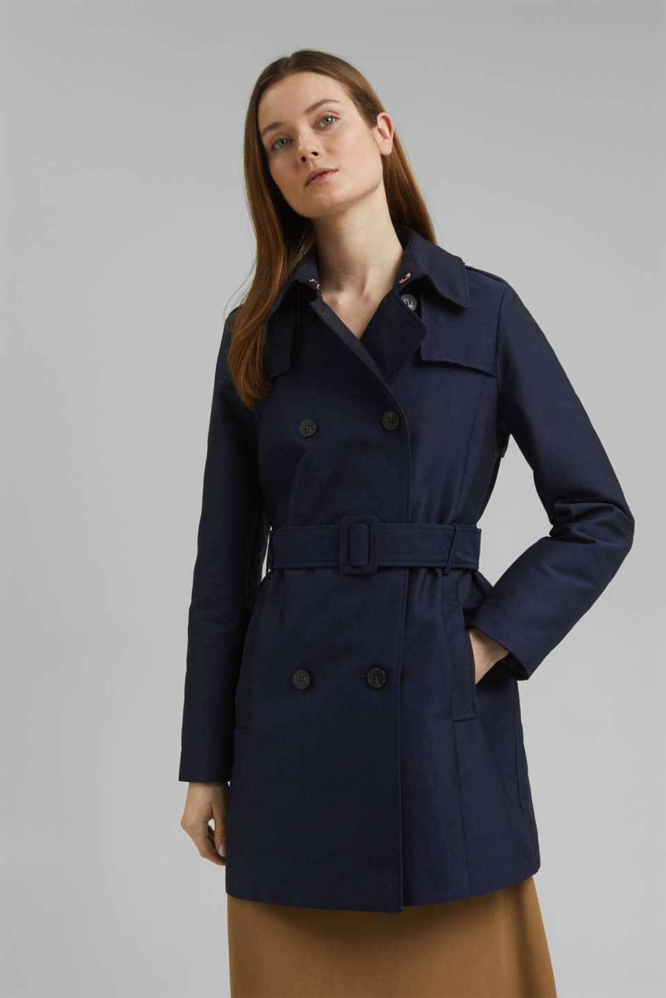 Esprit - Trench coat in blended cotton