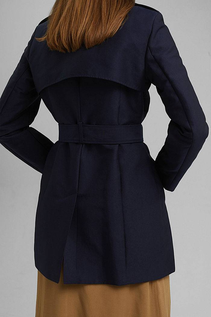 Trenchcoat aus Baumwoll-Mix, NAVY, detail image number 4