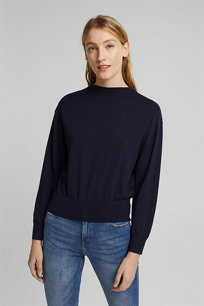 Silk blend: crewneck jumper, NAVY, detail image number 0