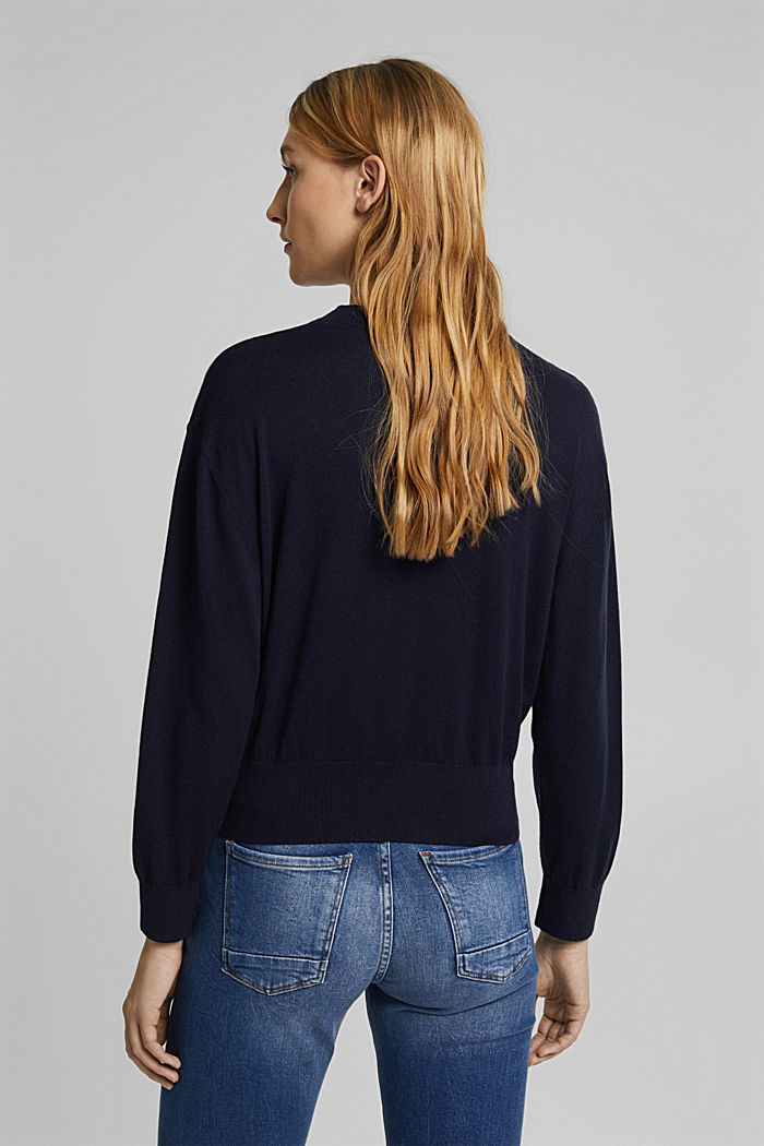 Silk blend: crewneck jumper, NAVY, detail image number 3