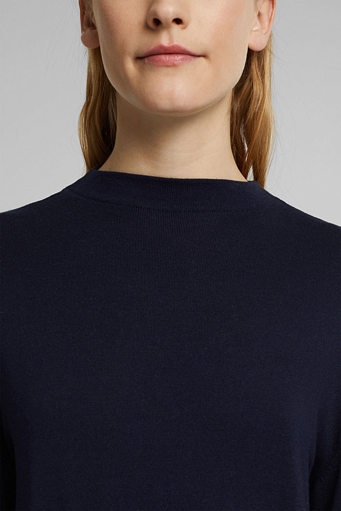 Silk blend: crewneck jumper, NAVY, detail image number 2