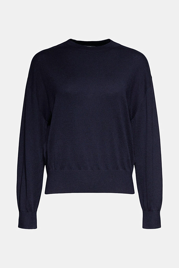 Silk blend: crewneck jumper, NAVY, detail image number 5