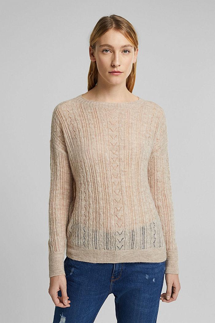 Med alpacka: tröja i ullmix, SAND, detail image number 0
