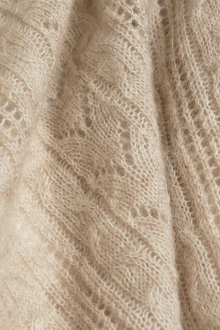 With alpaca: wool blend cardigan, SAND, detail image number 4