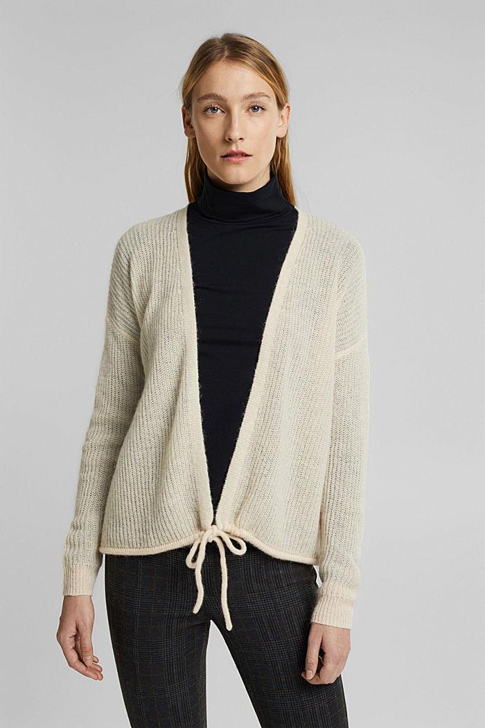 Med uld og alpaka: Cardigan med snor, CREAM BEIGE, detail image number 0