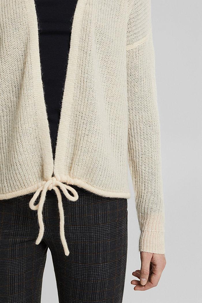 Med uld og alpaka: Cardigan med snor, CREAM BEIGE, detail image number 2