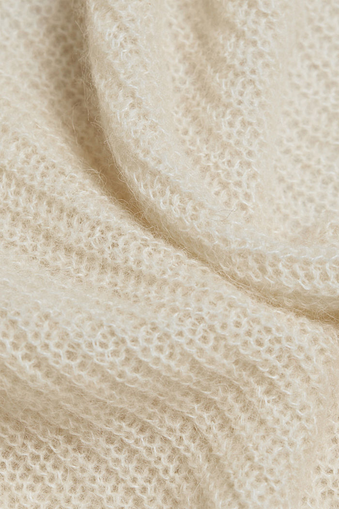 Med uld og alpaka: Cardigan med snor, CREAM BEIGE, detail image number 4