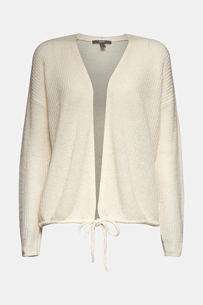 Med uld og alpaka: Cardigan med snor, CREAM BEIGE, detail image number 6