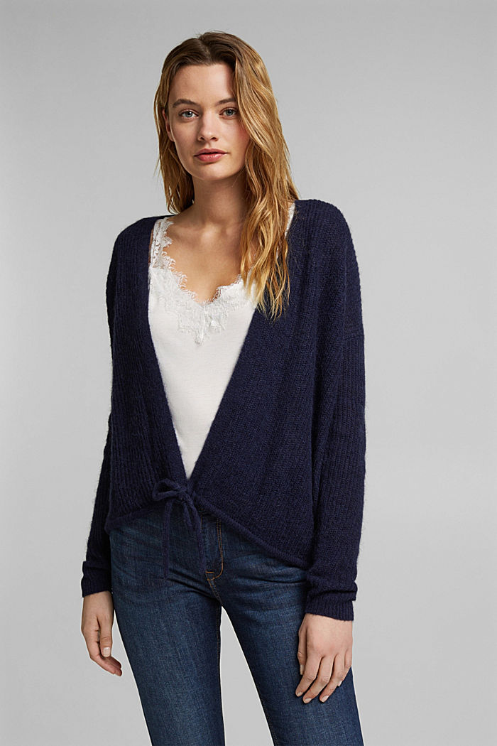 With wool and alpaca: Cardigan with cord, NAVY, detail image number 0