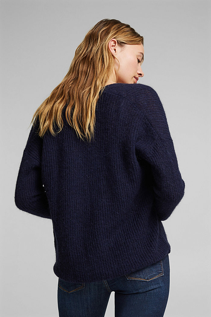With wool and alpaca: Cardigan with cord, NAVY, detail image number 3