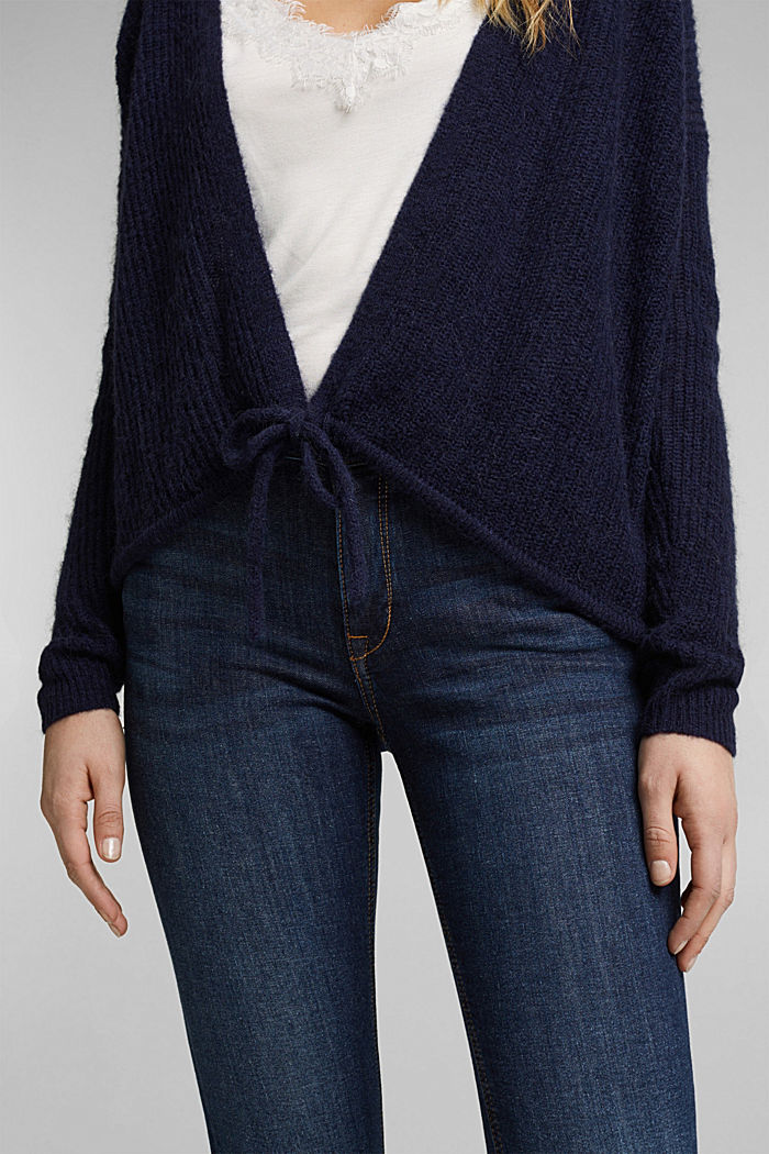 With wool and alpaca: Cardigan with cord, NAVY, detail image number 2