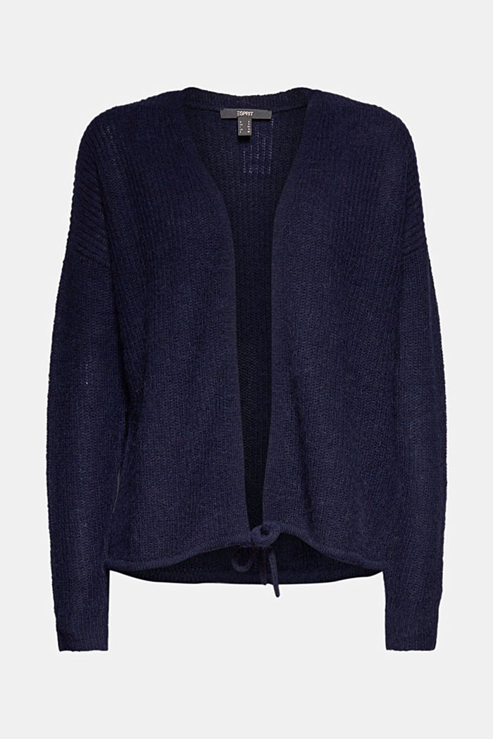 With wool and alpaca: Cardigan with cord, NAVY, detail image number 6