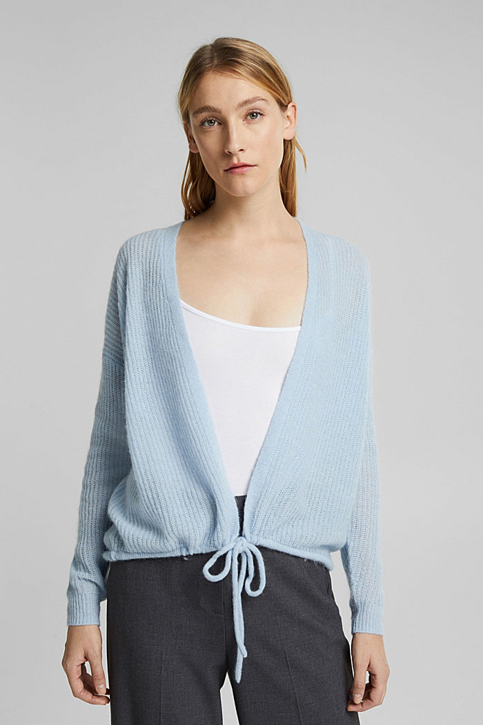 With wool and alpaca: Cardigan with cord, PASTEL BLUE, detail image number 0