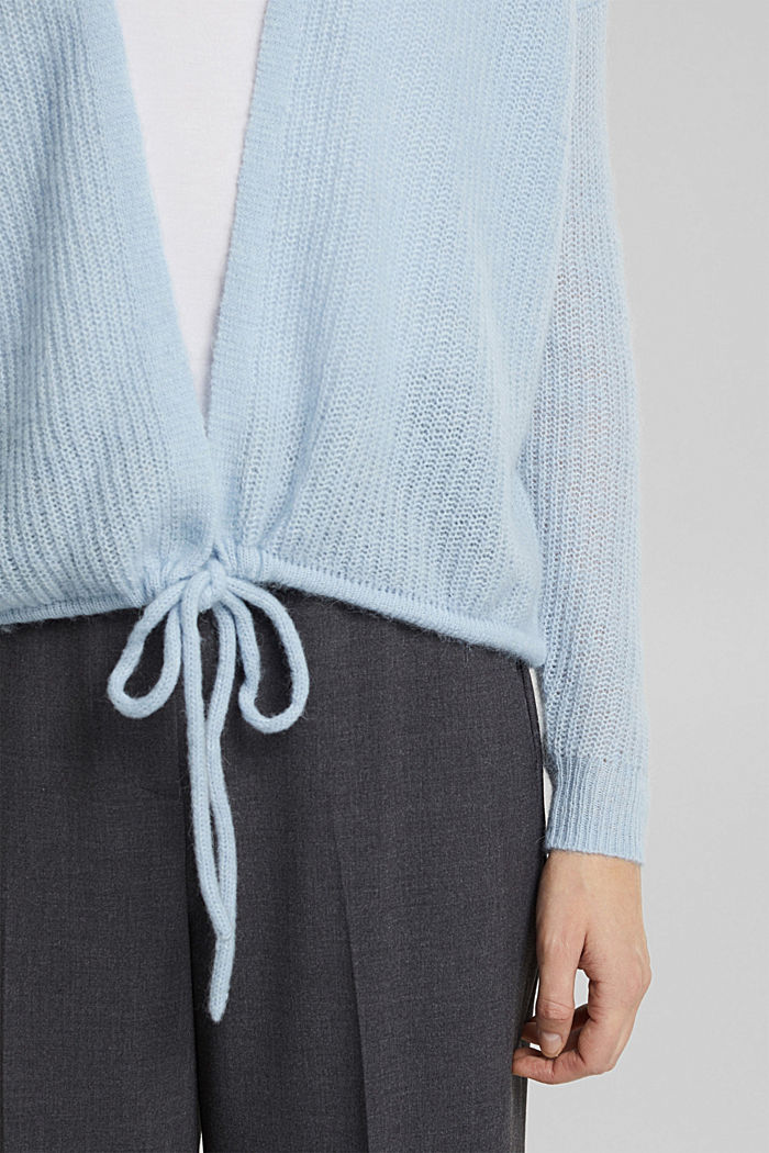 With wool and alpaca: Cardigan with cord, PASTEL BLUE, detail image number 2