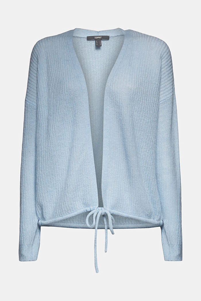 With wool and alpaca: Cardigan with cord, PASTEL BLUE, detail image number 5