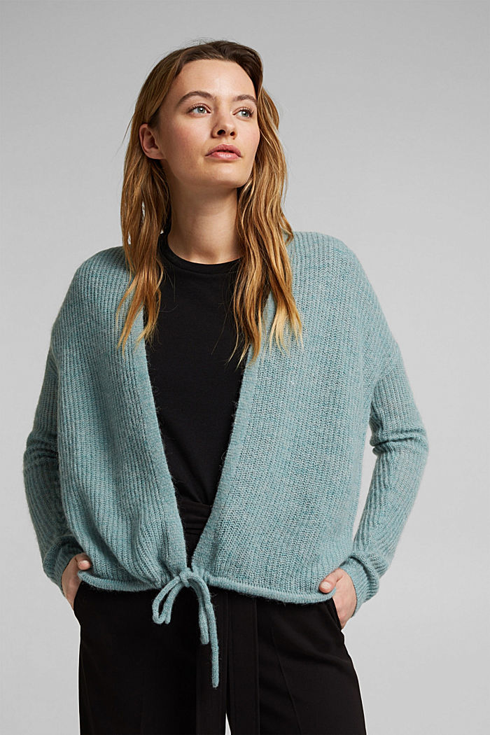 With wool and alpaca: Cardigan with cord, DARK TURQUOISE, detail image number 0