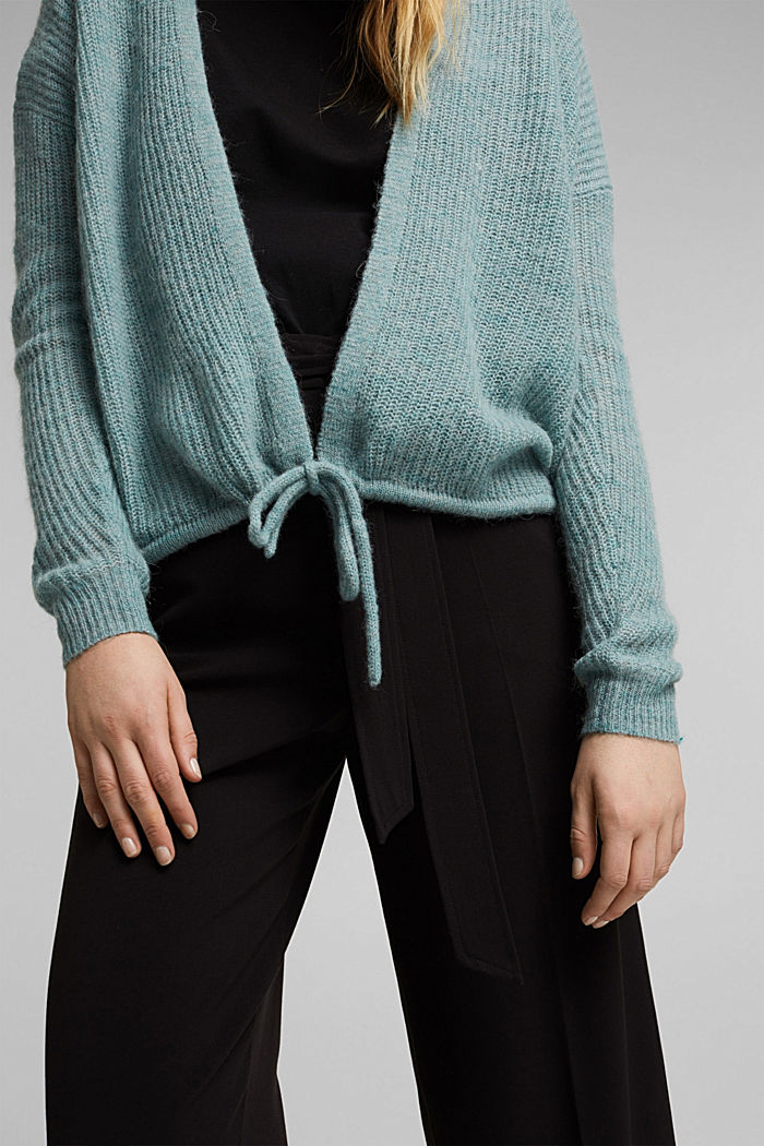 With wool and alpaca: Cardigan with cord, DARK TURQUOISE, detail image number 2