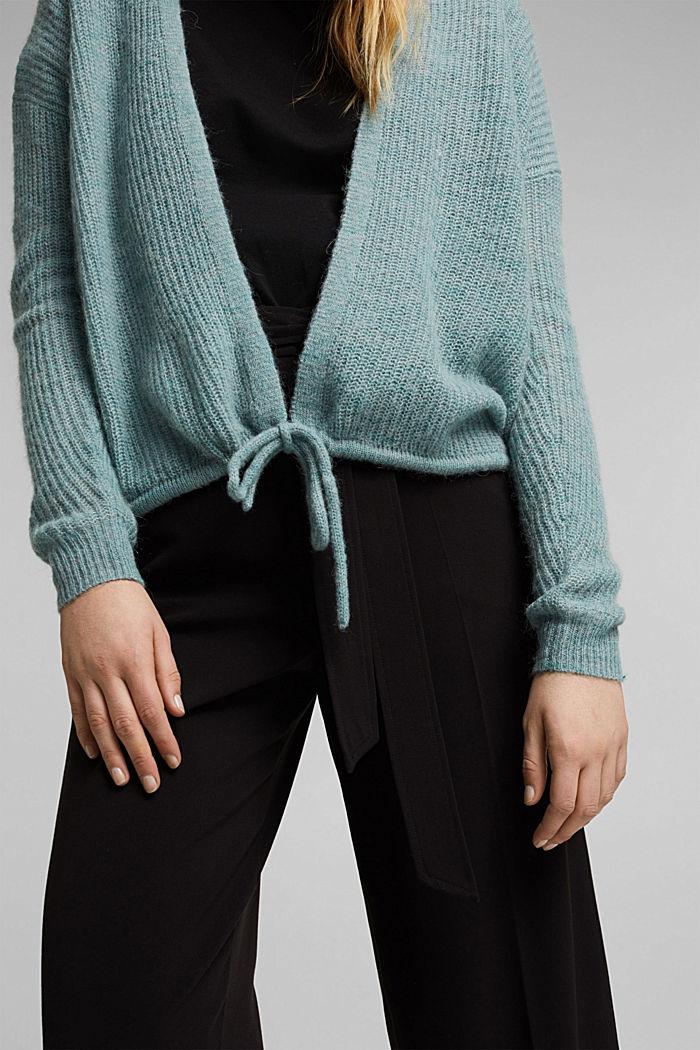 Met wol en alpaca: vest met koord, DARK TURQUOISE, detail image number 2