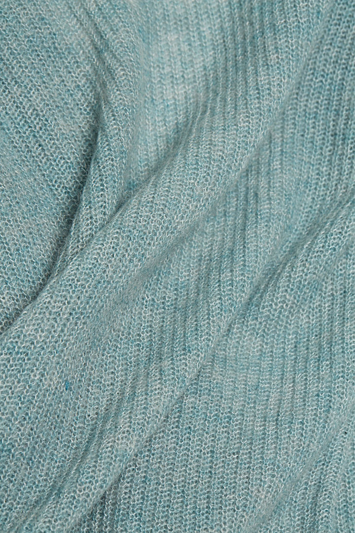 With wool and alpaca: Cardigan with cord, DARK TURQUOISE, detail image number 4