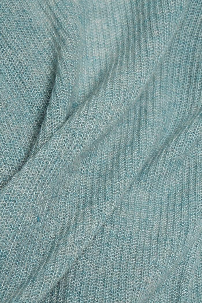Met wol en alpaca: vest met koord, DARK TURQUOISE, detail image number 4