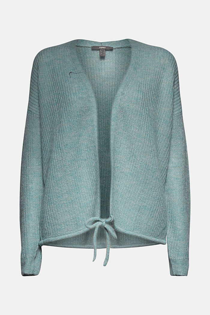 With wool and alpaca: Cardigan with cord, DARK TURQUOISE, detail image number 5