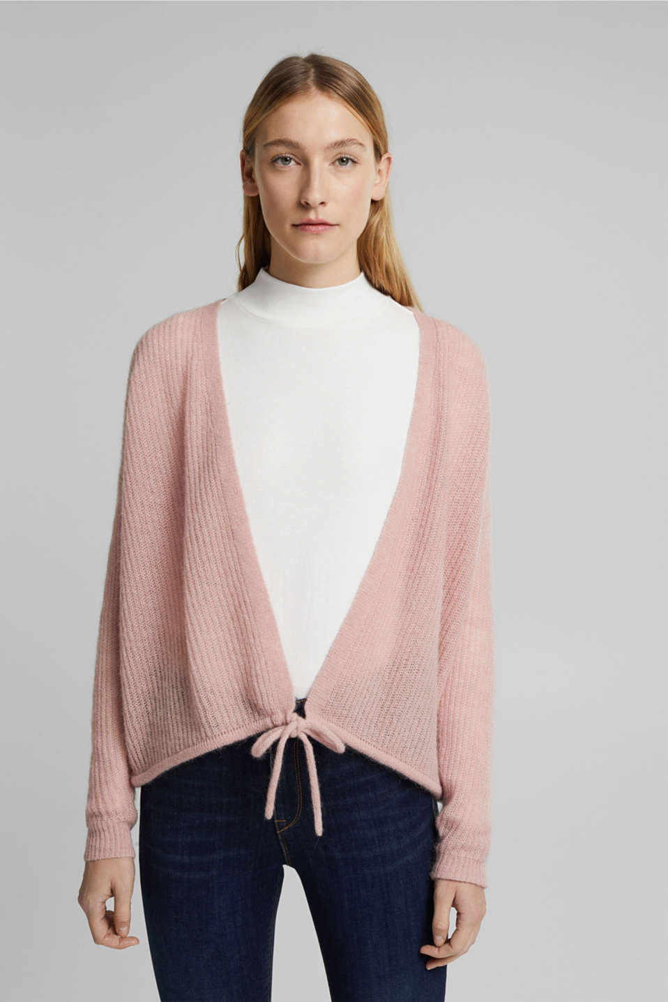 Esprit - With wool and alpaca: Cardigan with cord