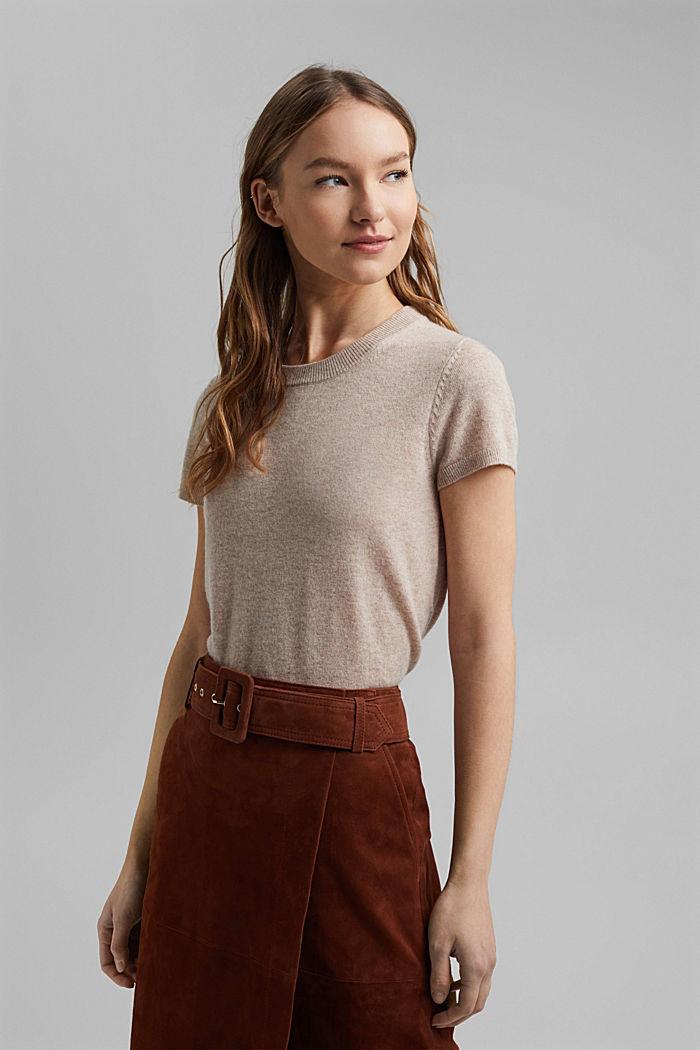Cashmere blend: Short-sleeved jumper, SAND, detail image number 1