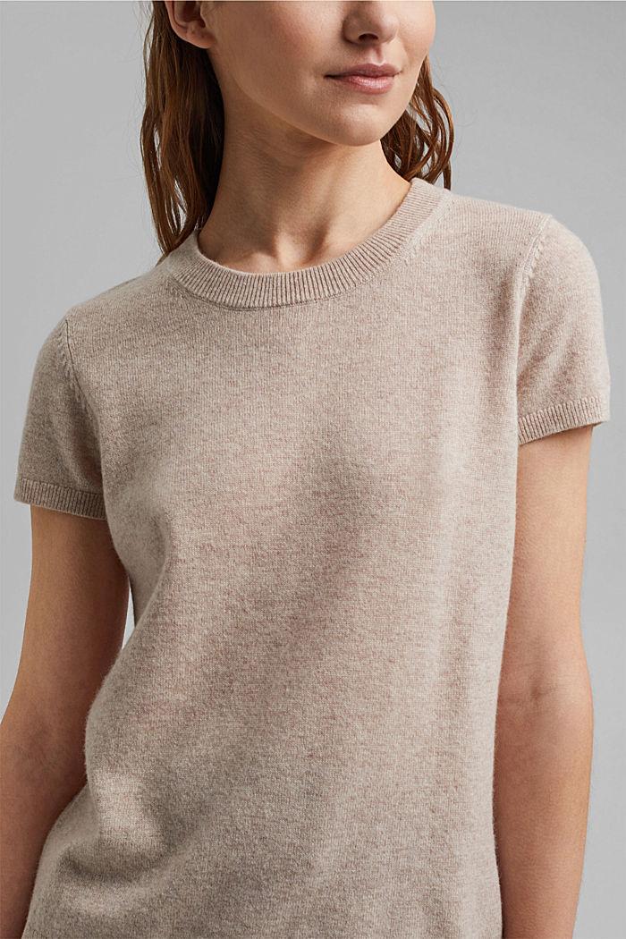 Cashmere blend: Short-sleeved jumper, SAND, detail image number 2