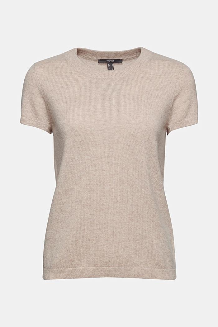 Cashmere blend: Short-sleeved jumper, SAND, detail image number 5