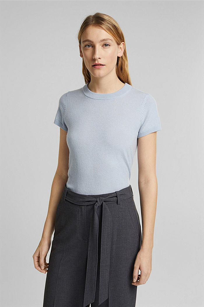 Cashmere blend: Short-sleeved jumper