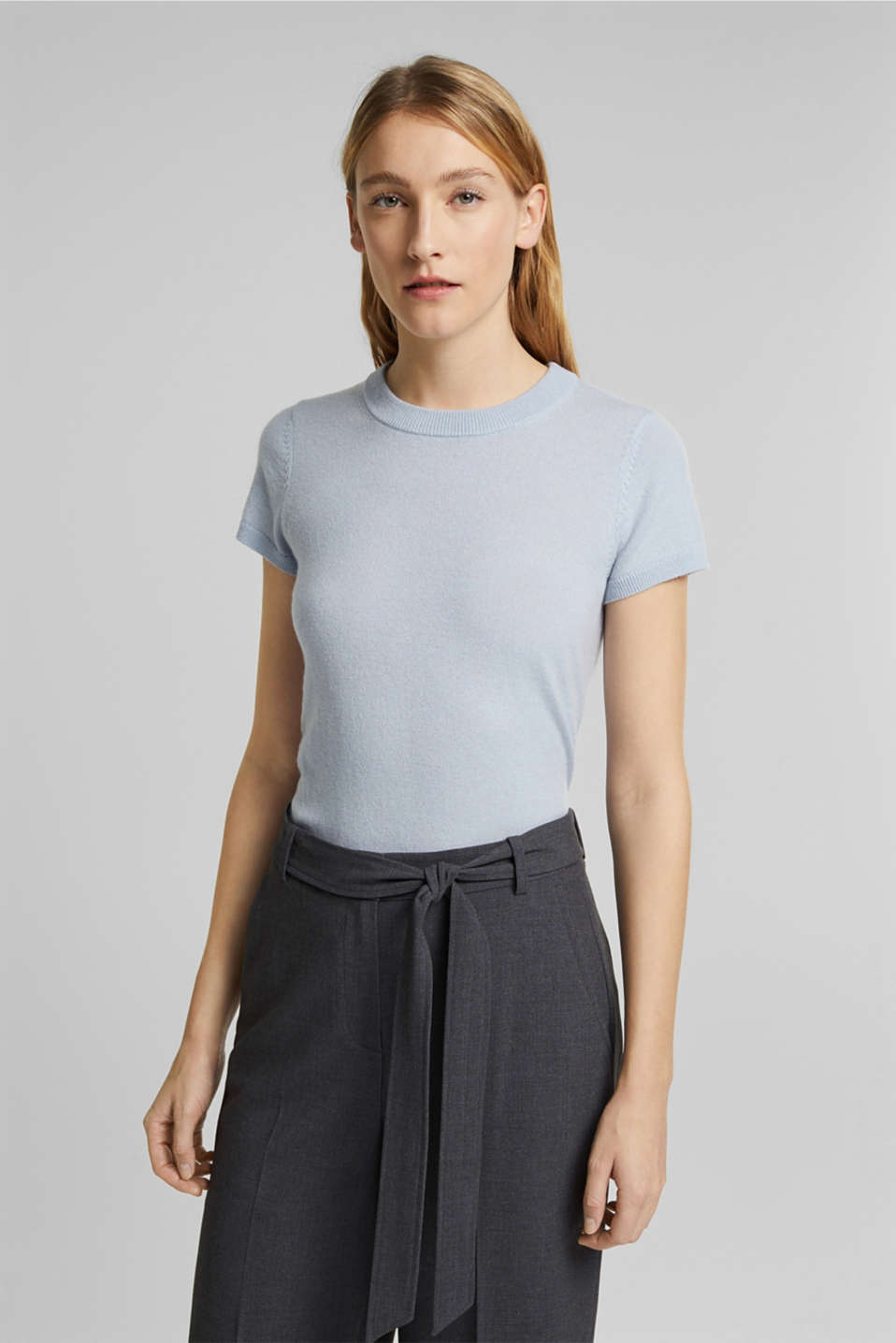 Esprit - Cashmere blend: Short-sleeved jumper