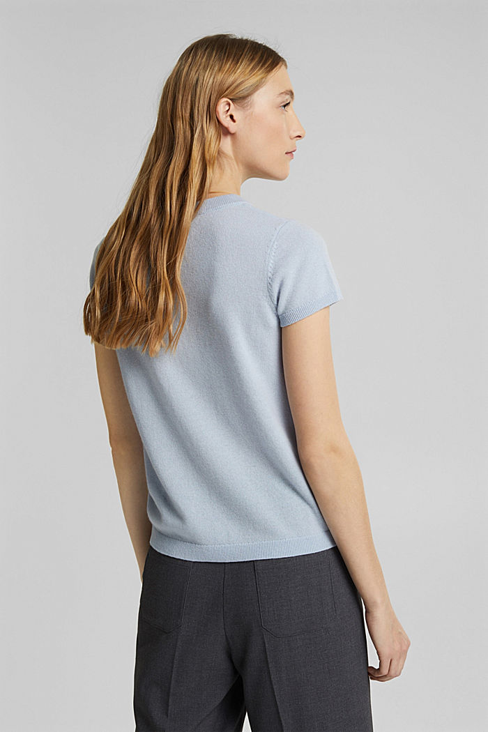 Mit Kaschmir: Kurzarm-Pullover, PASTEL BLUE, detail image number 3