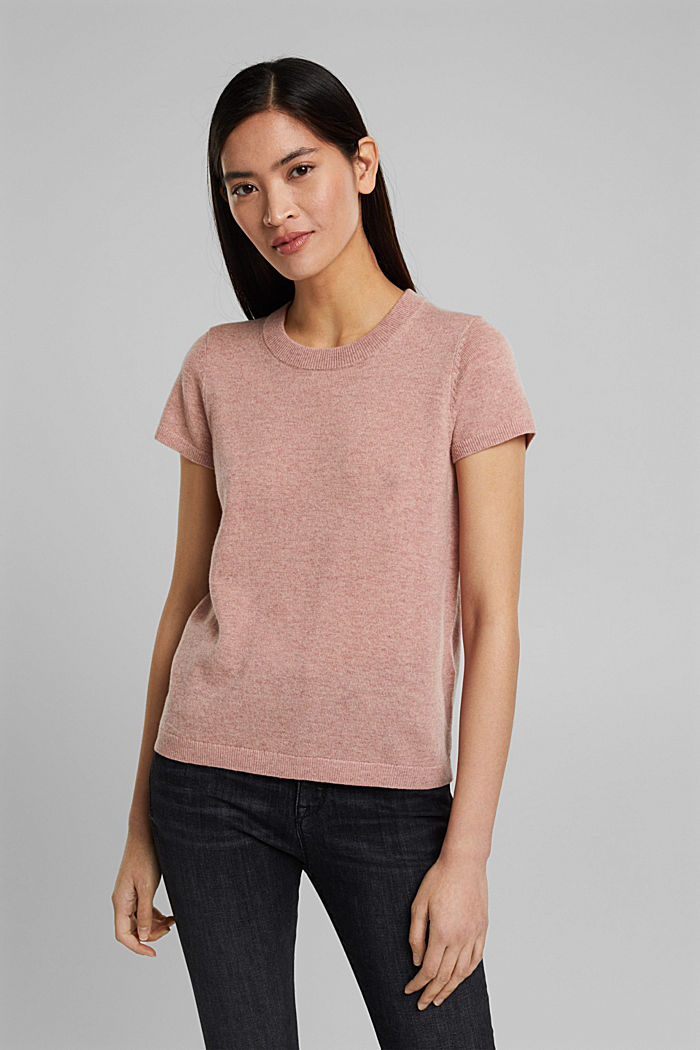 Cashmere blend: Short-sleeved jumper, OLD PINK, detail image number 0