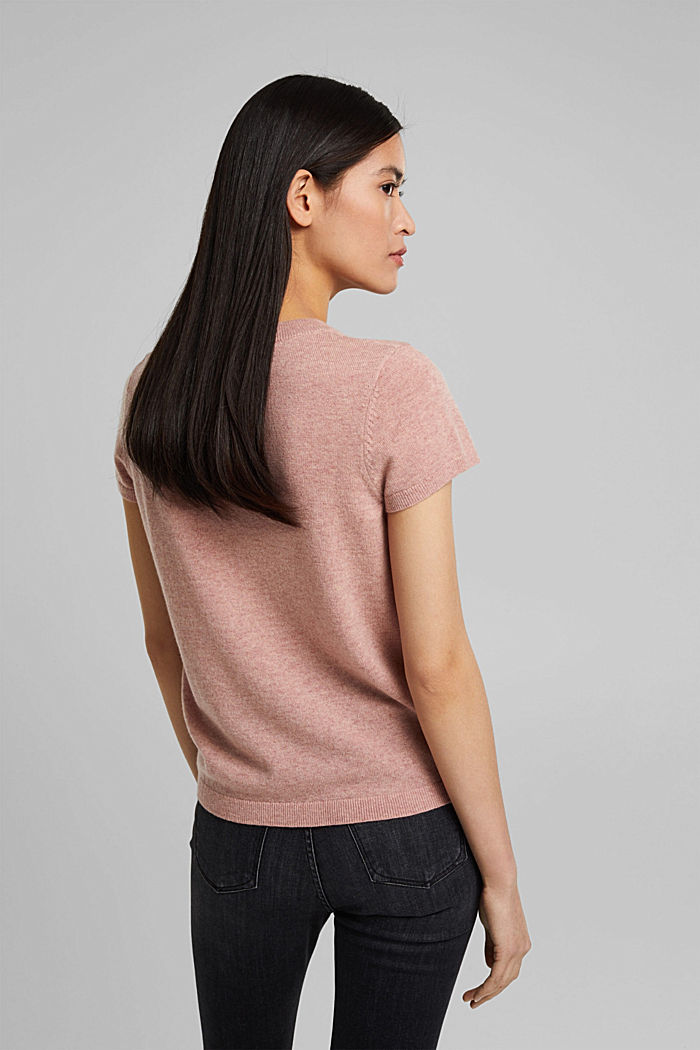Cashmere blend: Short-sleeved jumper, OLD PINK, detail image number 3