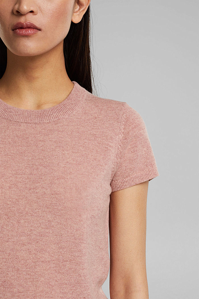 Cashmere blend: Short-sleeved jumper, OLD PINK, detail image number 2