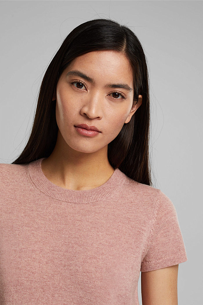 Cashmere blend: Short-sleeved jumper, OLD PINK, detail image number 5