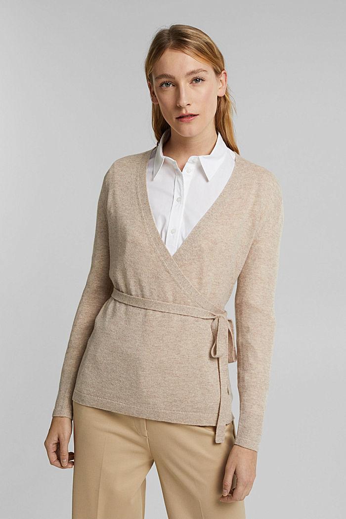 Cashmere blend: wool blend cardigan, SAND, detail image number 0