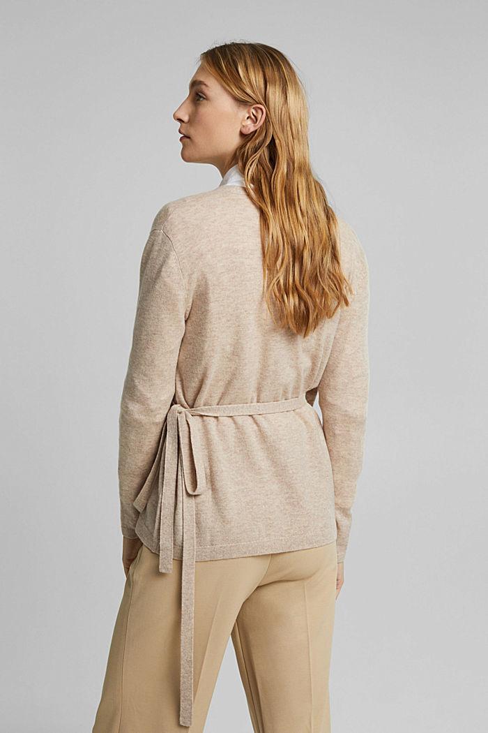Cashmere blend: wool blend cardigan, SAND, detail image number 3