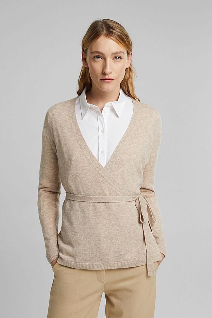 Cashmere blend: wool blend cardigan, SAND, detail image number 5
