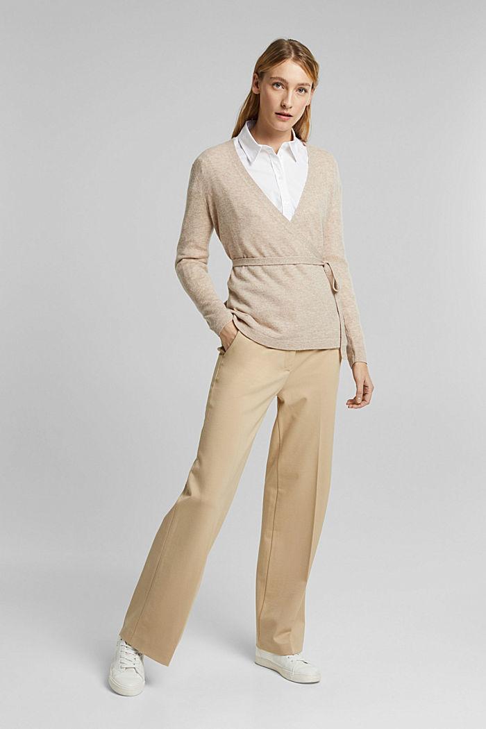 Cashmere blend: wool blend cardigan, SAND, detail image number 6