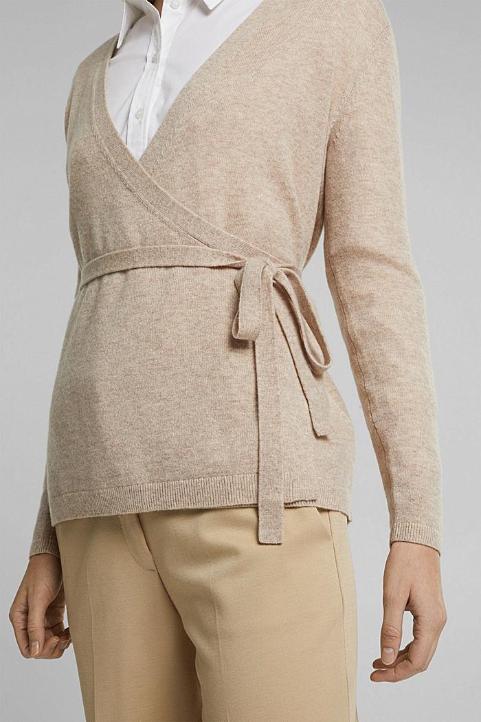 Cashmere blend: wool blend cardigan, SAND, detail image number 2