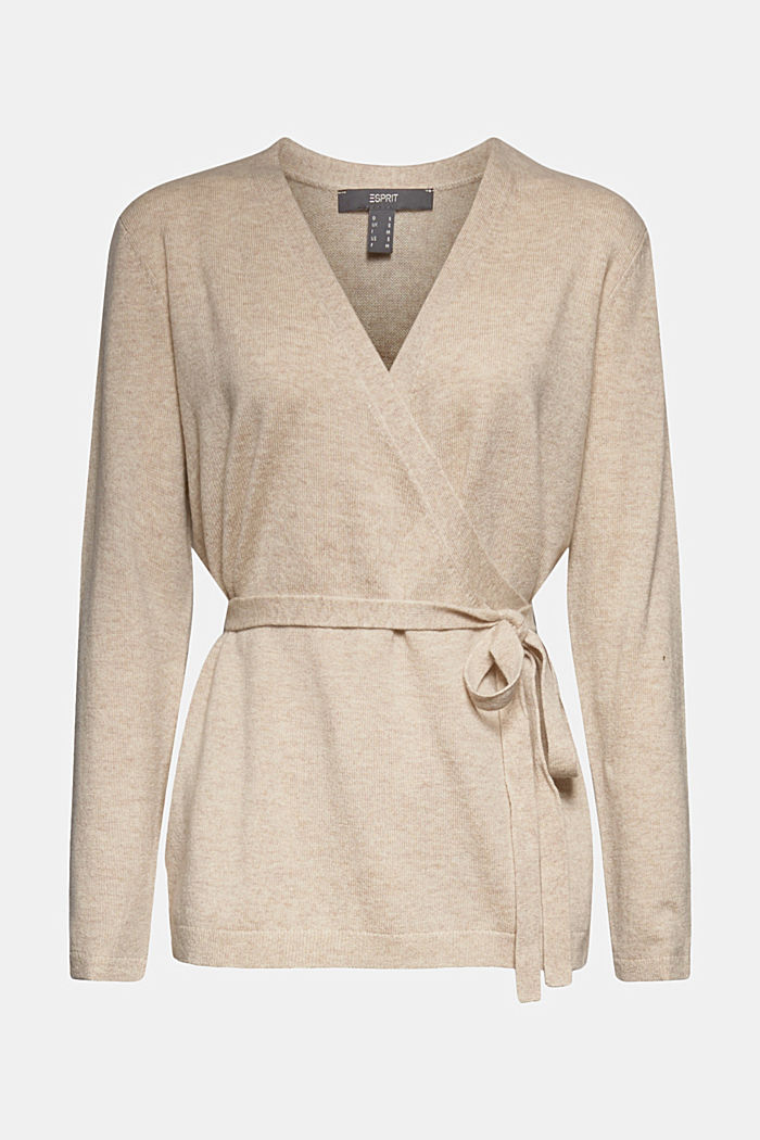Cashmere blend: wool blend cardigan, SAND, overview