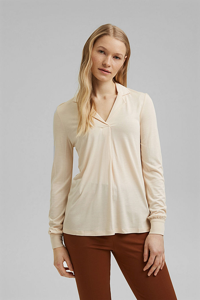 Blouse-style long sleeve top, LENZING™ ECOVERO™, CREAM BEIGE, detail image number 0