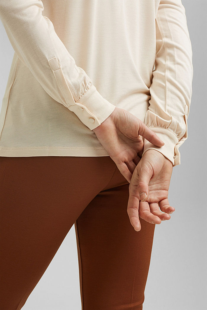 Blouse-style long sleeve top, LENZING™ ECOVERO™, CREAM BEIGE, detail image number 2