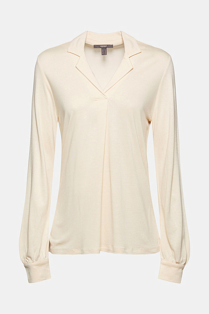 Blouse-style long sleeve top, LENZING™ ECOVERO™, CREAM BEIGE, detail image number 5