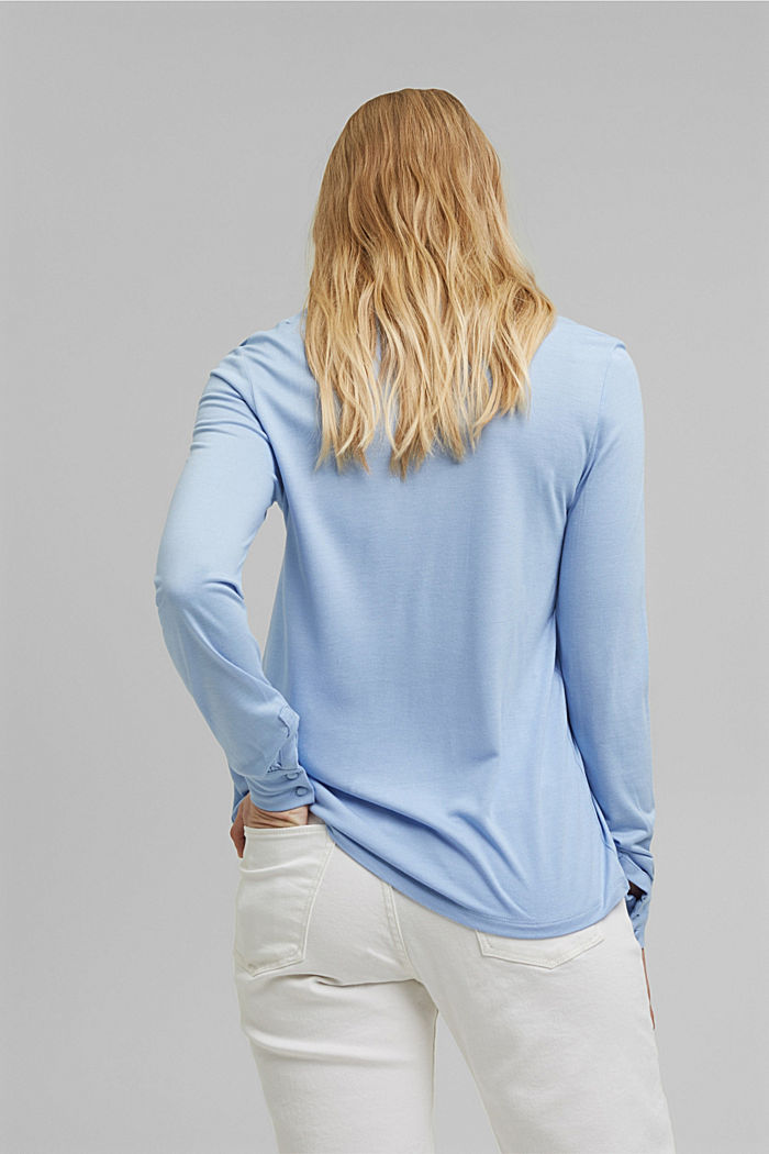 Blouse-style long sleeve top, LENZING™ ECOVERO™, PASTEL BLUE, detail image number 3