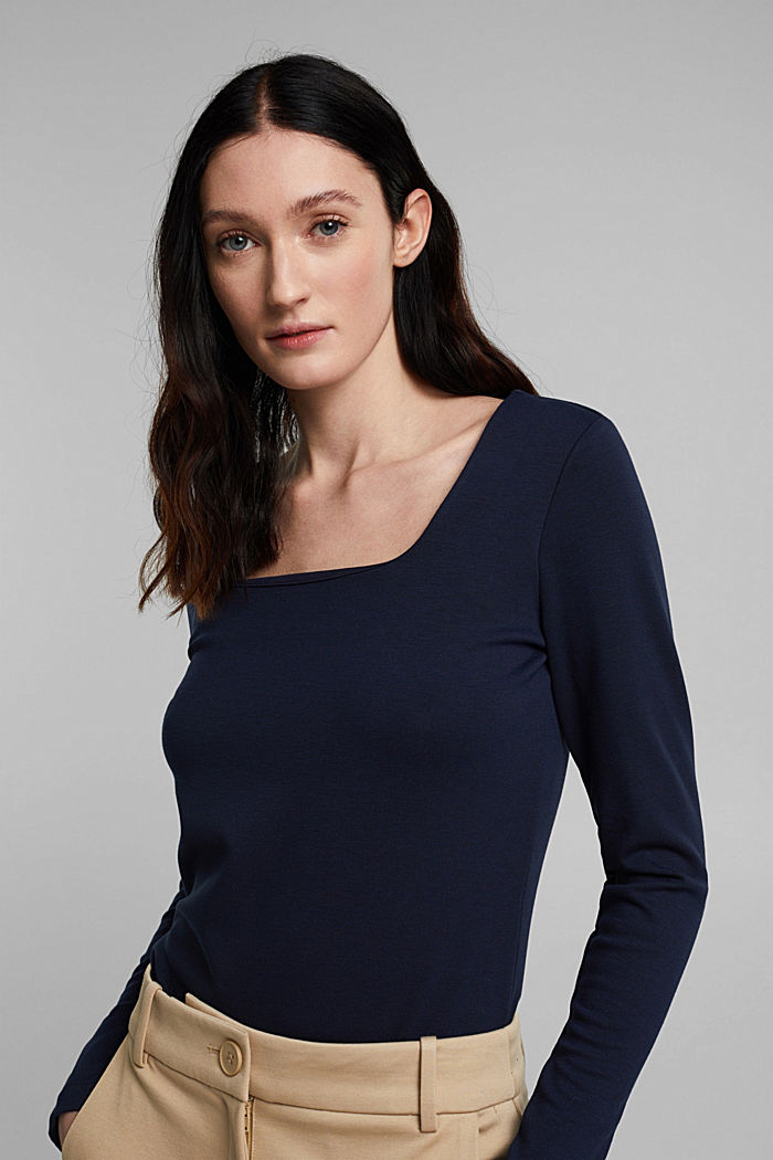 Long sleeve top made of LENZING™ ECOVERO™, NAVY, overview