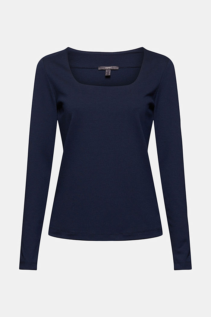 Long sleeve top made of LENZING™ ECOVERO™, NAVY, detail image number 7