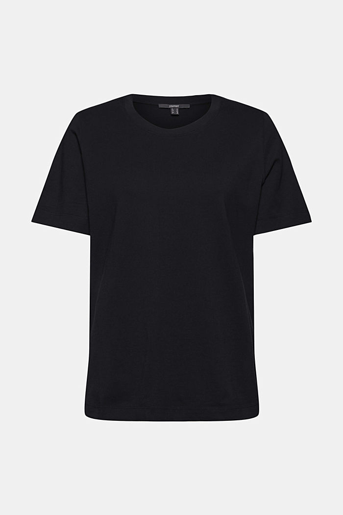 Basic T-shirt in 100% organic cotton, BLACK, overview